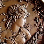 19thC Repousse Plaque of a Young Lady with Butterfly & Roses