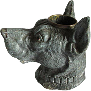19thC Figural Great Dane Dog Match Safe, Desk Accessory