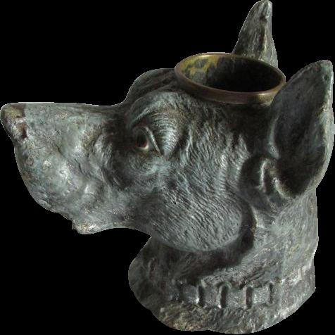 19thC Figural Great Dane Dog Match Safe, Desk Accessory