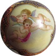 19thC French Porcelain Cane Handle with Cherubs