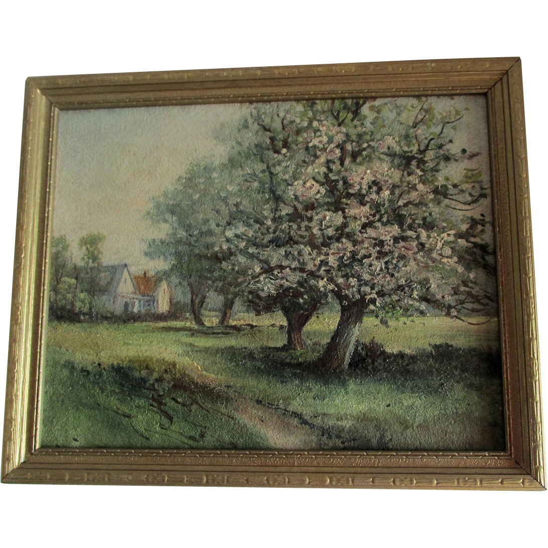 Vintage Impressionistic Landscape Oil Painting, Flowering Tree