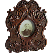 Elaborate c1880s Hand Carved Oak Picture Frame