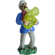 Vintage Czech, Czechoslovakian Blown Glass Figurine, Man Playing Tuba