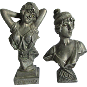 Pair Antique Art Nouveau Sculptures, Bust of Lovely Ladies