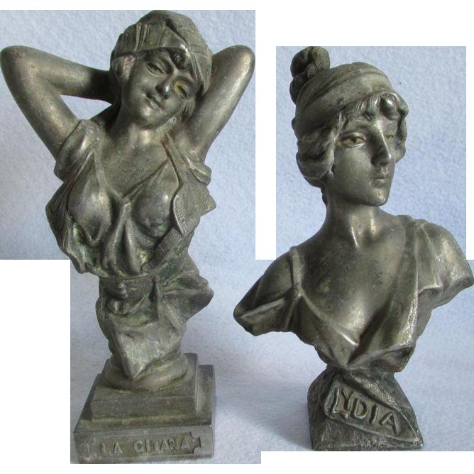 Pair Antique Art Nouveau Sculptures, Bust of Lovely Ladies