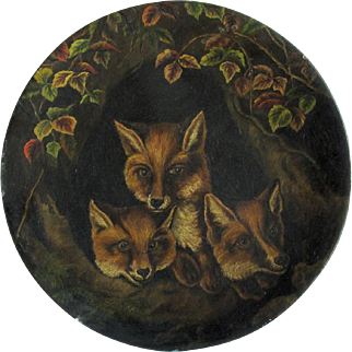 Antique Folk Art Oil Painting of 3 Foxes