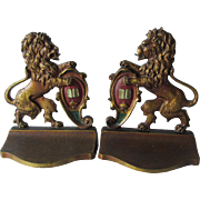 Nice c1920s English Rampant Lion Bookends, Original Finish