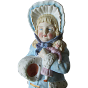 c1880 Victorian Bisque Figurine of a Girl with her Doll