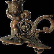 19thC Victorian Bronze Cherub Chamberstick, Candlestick