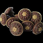 Rare Set of 9 Circa 1860s Gutta Percha Picture Hooks, Tiebacks