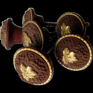 Rare Set Circa 1868 Gutta Percha Picture Hooks, Tiebacks