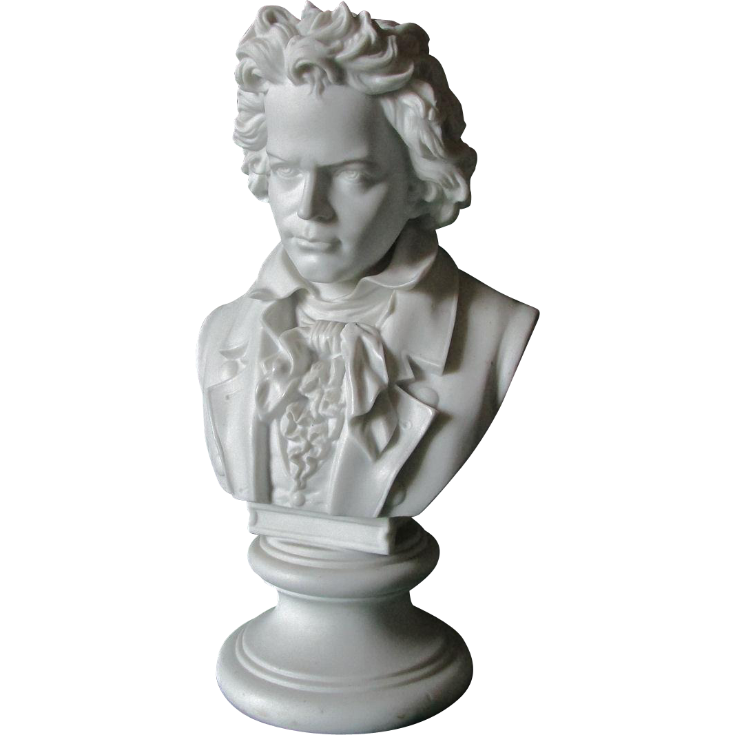 Antique Bisque Bust of Music Composer Ludwig van Beethoven