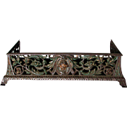 c1880 Victorian Cast Iron Fireplace Fender, Decorative Shelf