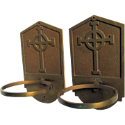 Pair Vintage Bronze Ecclesiastical Holy Water Fonts with Cross