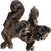Pair Antique Carved Wood Venetian, Italian Gargoyles, Merman