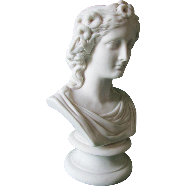 19thC Antique Parian Porcelain Bust of a Lovely Lady