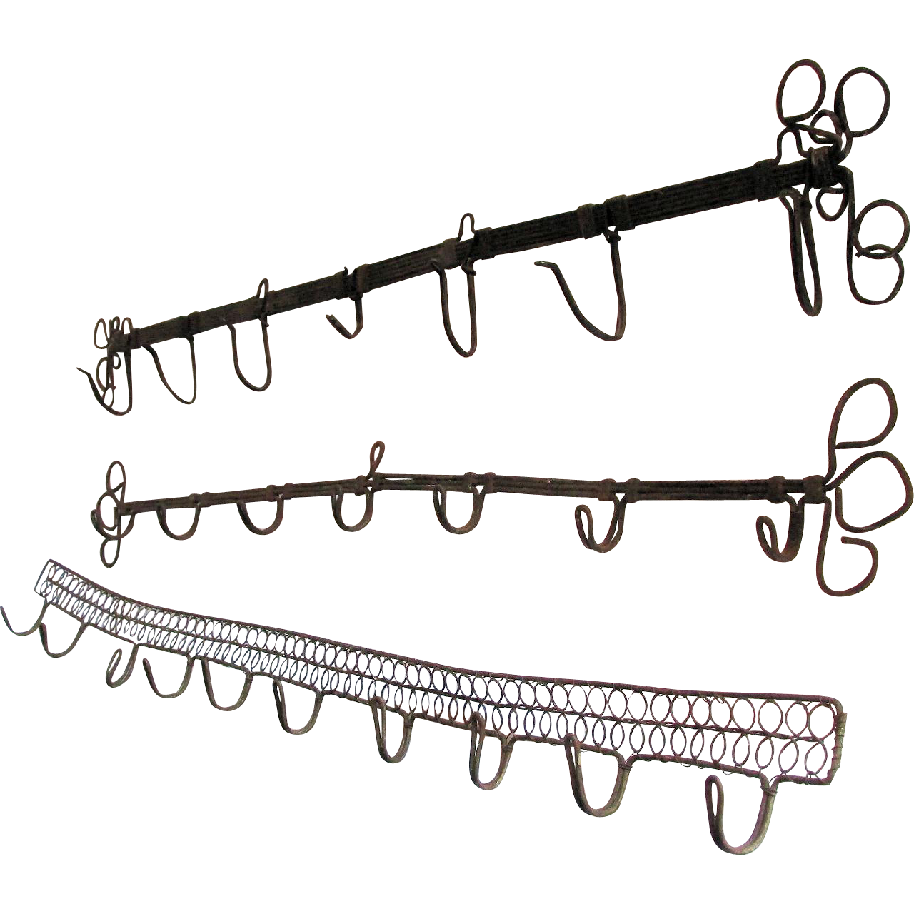 3 Antique European Wireware Racks with Hooks, Architectural