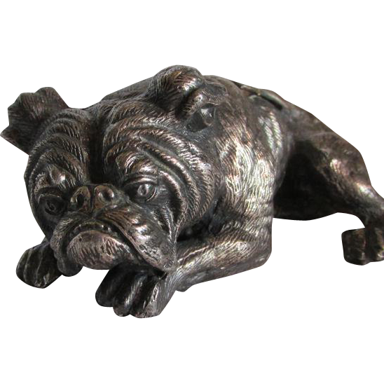 c1920s K & O Figural Bulldog Paperweight St Louis Souvenir