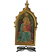 Lovely Madonna Print in Gilt Gothic Picture Frame