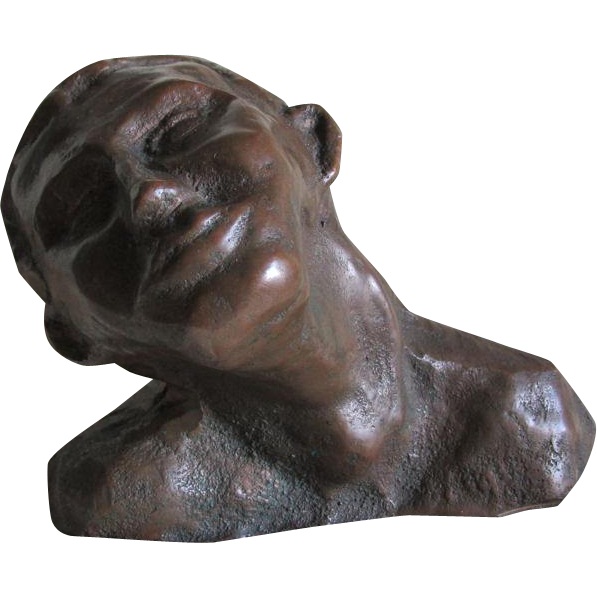 Vintage Bronze Sculpture, Bust of a Man Looking Up