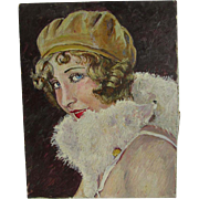 Antique Art Deco Oil Painting of a Flapper Lady