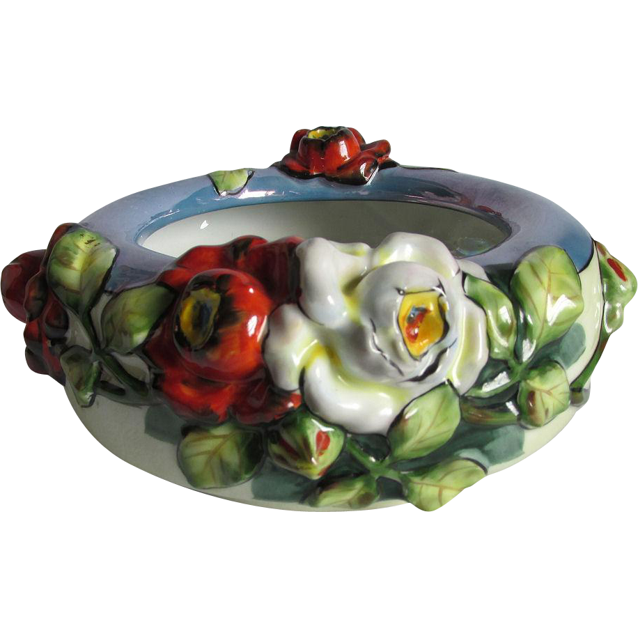 c1920s Nippon Blow Out Bowl, Vase with Roses, Hand Painted