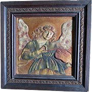 19thC Ecclesiastical Gilt Angel Embossed Plaque