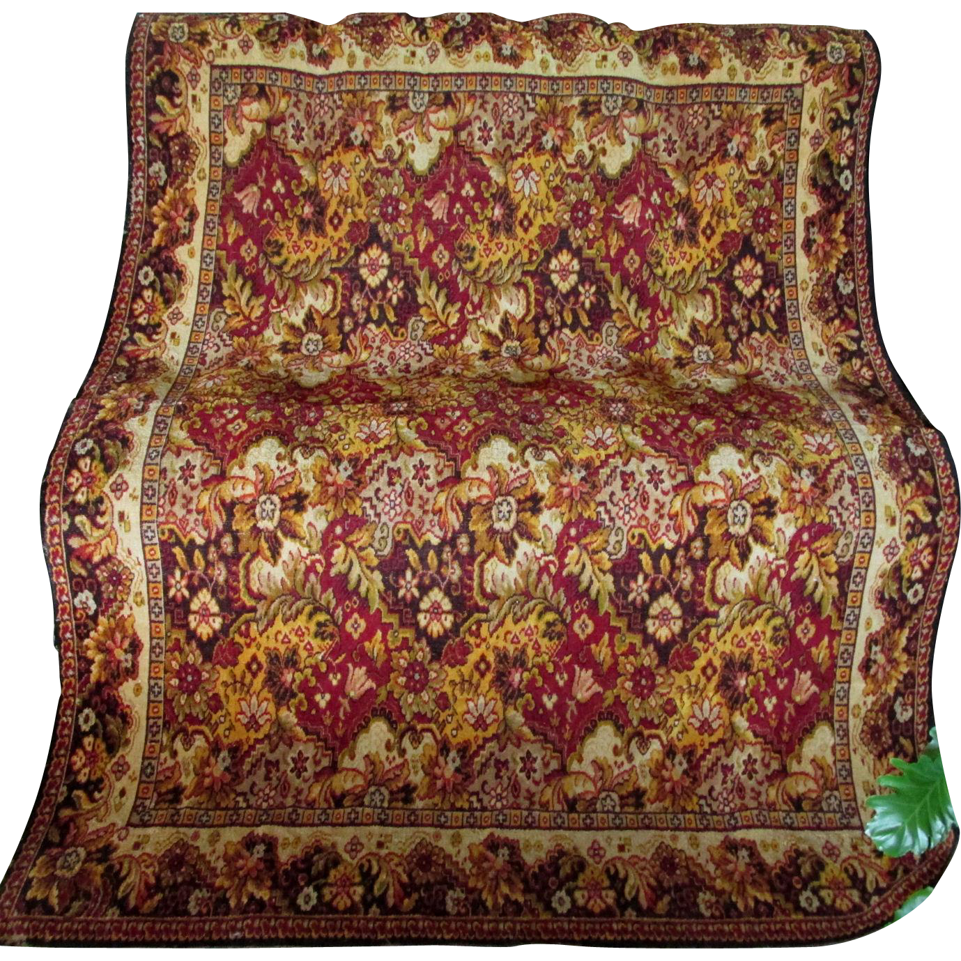 19thC Mohair Tablecloth, Bedspread Oriental Rug Motif