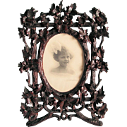 c1880s German Black Forest Hand Carved Picture Frame