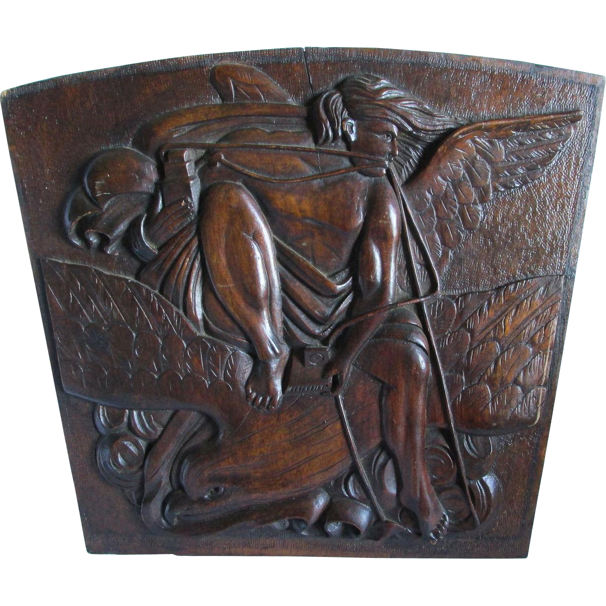 Antique Hand Carved Angel, Eagle Plaque Architectural Element