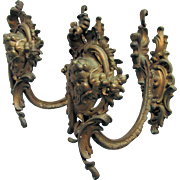 Pair Antique Gilt Brass Cherub Angel Curtain Tiebacks