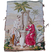 c1870s Hand Made Needlepoint Tapestry, Jesus & Samaritan Woman