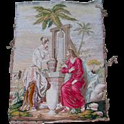 c1870s Hand Made Needlepoint Tapestry, Jesus & Samaritan Woman