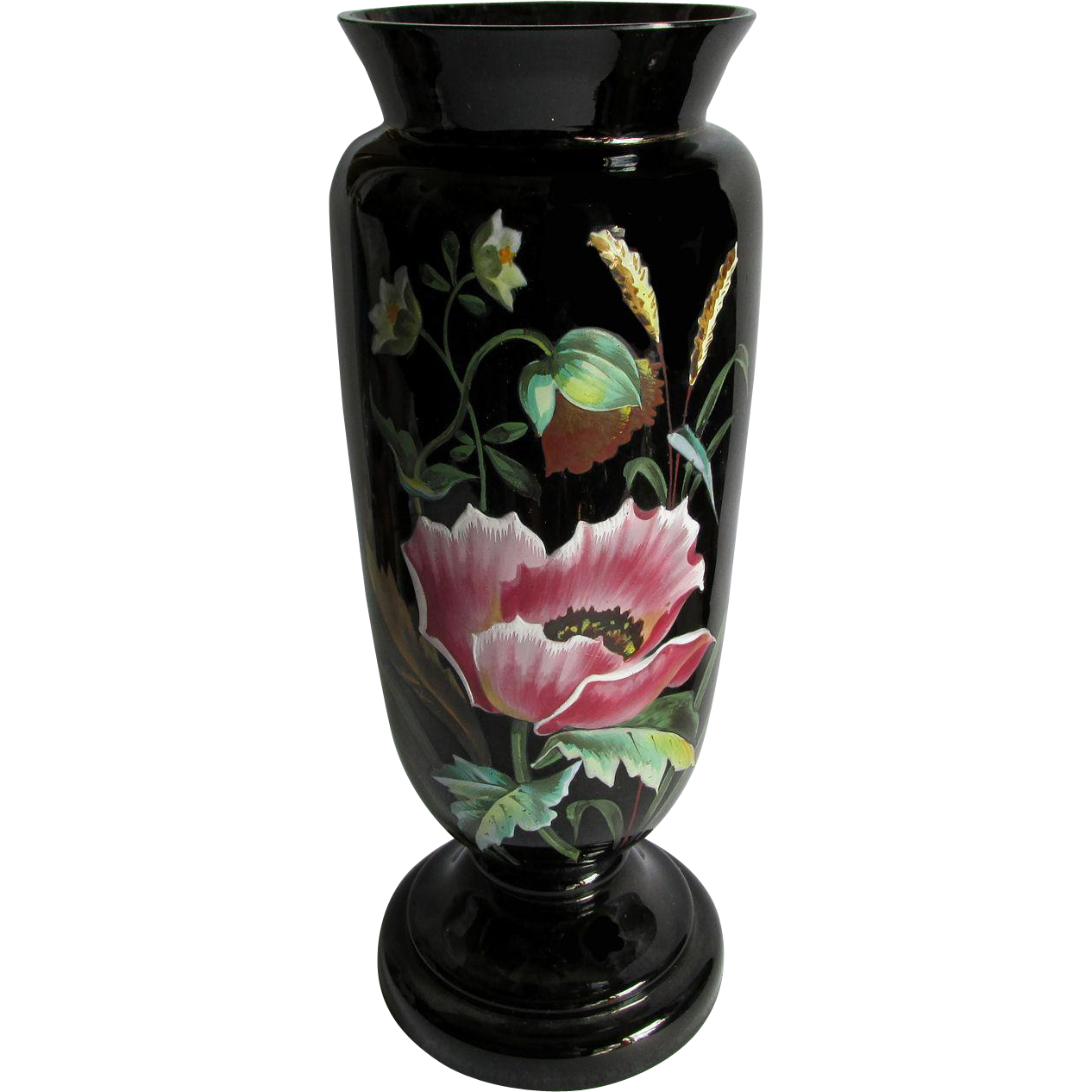 c1880s Black Amethyst Glass Vase with Enamel Poppy Flower