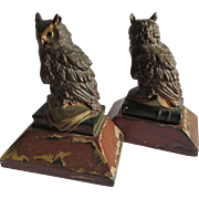 Pair c1920s Great Horned Owl Bookends, Original Paint