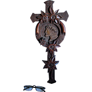 Hand Carved Folk Art Cross, Frame with Jesus & Daisy Flowers
