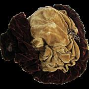 c1870-1880s Ladies Victorian Velvet Hat, Bonnet, Millinery