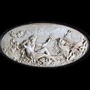 Antique Bas Relief of Neptune, Poseidon, Grand Tour Plaque