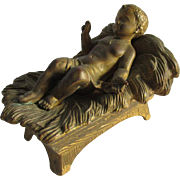 c1900 Jesus in Cradle Gilt Sculpture, Creche Figurine