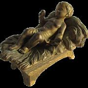 c1900 Jesus in Cradle Gilt Sculpture, Creche Figurine
