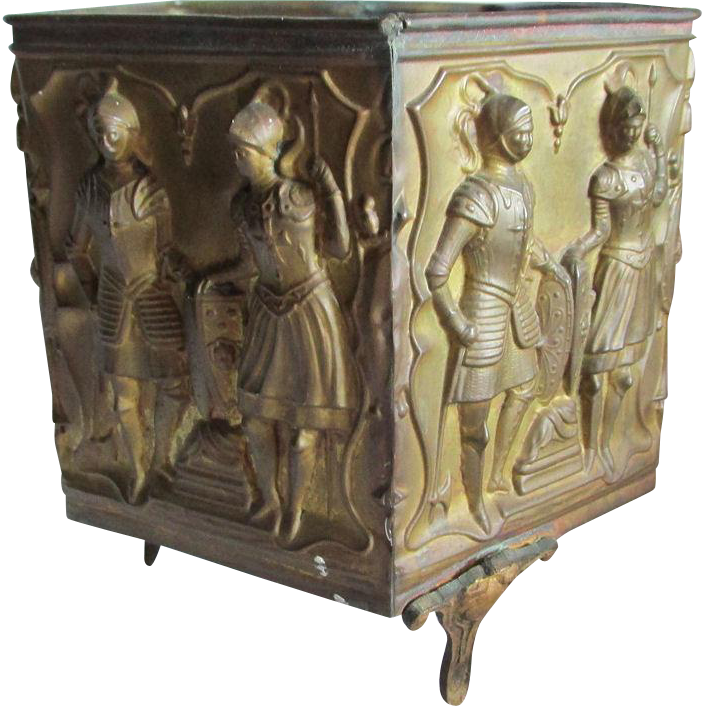 Antique English Brass Planter with Gothic Knights, Soldiers