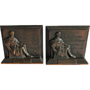 c1930s Robert Burns Bookends Should Auld Acquaintance be Forgot
