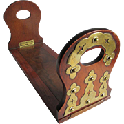 Lovely Antique English Brass & Mahogany Expanding Bookends
