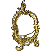 Lovely Antique French Rococo Gilt Brass Picture Frame, Mirror