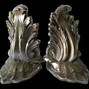 Pretty Vintage Silver Gilt Acanthus Leaf Bookends, Desk Accessory