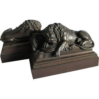 Antique Lion of Lucerne Bookends, Swiss Military Monument