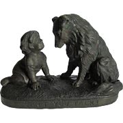 Charming c1880s Sculpture of a Girl & Dog, Can't You Talk