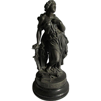 Antique c1880 French Sculpture of a Lovely Lady, Poet