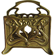 Antique Gilt Brass Art Nouveau Letter Holder, Desk Accessory