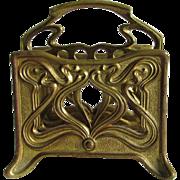 Antique Gilt Brass Art Nouveau Letter Holder, Desk Accessory